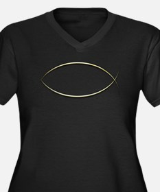 Ichthus Women's Plus Size V-Neck Dark T-Shirt