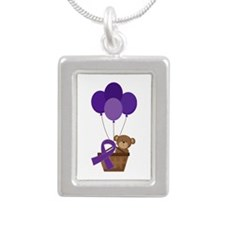 Purple Awareness Ribbon Teddy Bear Necklaces