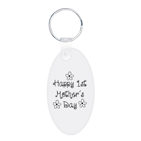1st Mother's Day Aluminum Oval Keychain