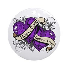 Lupus Hope Dual Heart Ornament (Round)