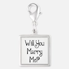 Will You Marry Me? (2) Silver Square Charm