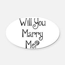 Will You Marry Me? (2) Oval Car Magnet