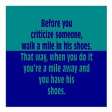 """A Mile In Their Shoes Square Car Magnet 3"""" x 3"""""""