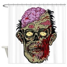 GREEN ZOMBIE HEAD WITH BRAINS--ROTTEN!! Shower Cur