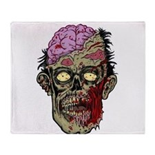 GREEN ZOMBIE HEAD WITH BRAINS--ROTTEN!! Throw Blan