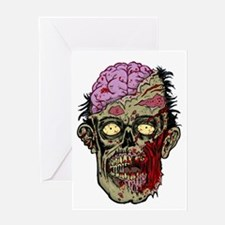 GREEN ZOMBIE HEAD WITH BRAINS--ROTTEN!! Greeting C