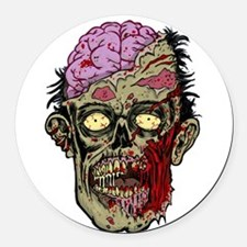 GREEN ZOMBIE HEAD WITH BRAINS--ROTTEN!! Round Car