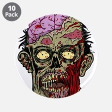 "GREEN ZOMBIE HEAD WITH BRAINS--ROTTEN!! 3.5"" Butto"