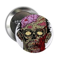 """GREEN ZOMBIE HEAD WITH BRAINS--ROTTEN!! 2.25"""" Butt"""
