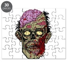 GREEN ZOMBIE HEAD WITH BRAINS--ROTTEN!! Puzzle