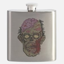 GREEN ZOMBIE HEAD WITH BRAINS--ROTTEN!! Flask