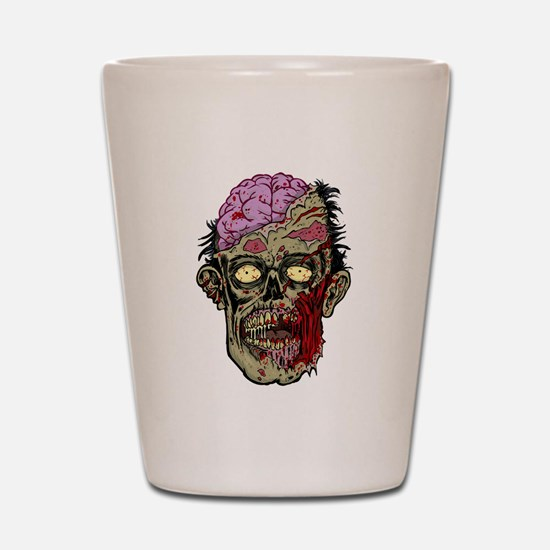 GREEN ZOMBIE HEAD WITH BRAINS--ROTTEN!! Shot Glass