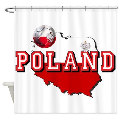Polish Flag Map Shower Curtain