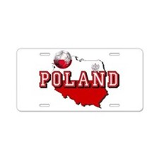 Polish Flag Map Aluminum License Plate