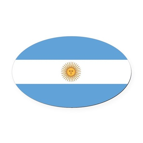 Argentina Flag Oval Car Magnet