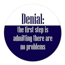First Step of Denial Round Car Magnet