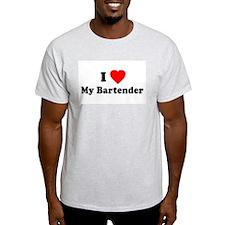 I Love [Heart] My Bartender Ash Grey T-Shirt