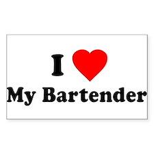 I Love [Heart] My Bartender Rectangle Decal