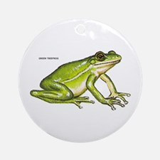 Green Treefrog Frog Ornament (Round)