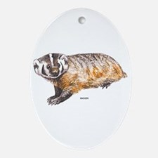 Badger Animal Ornament (Oval)
