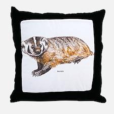 Badger Animal Throw Pillow