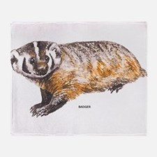 Badger Animal Throw Blanket