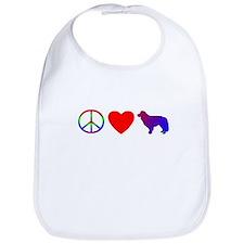 Peace, Love, Border Collie Bib