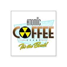 "Atomic Coffee Square Sticker 3"" x 3"""