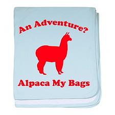 An Adventure? Alpaca My Bags baby blanket