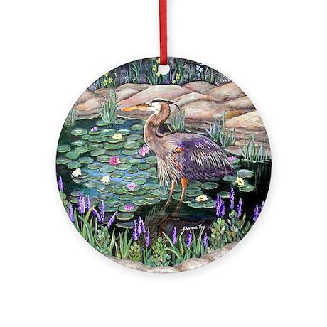 Heron lily pond ornament round by evonnes art Pond ornaments