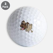Leaping Pug Golf Ball