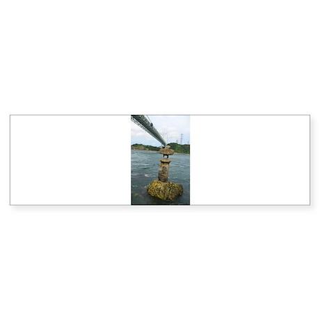 Floating Stone Lantern Under Bridge Bumper Sticker