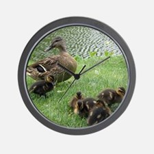 Duck mom and Ducklings Wall Clock