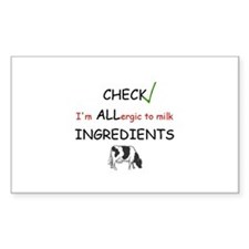 Milk Allergy Rectangle Decal