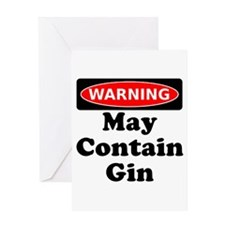 Warning May Contain Gin Greeting Card