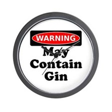 Warning May Contain Gin Wall Clock