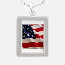 American Flag - Patriotic USA Silver Portrait Neck