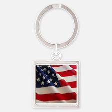 American Flag - Patriotic USA Square Keychain