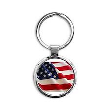 American Flag - Patriotic USA Round Keychain