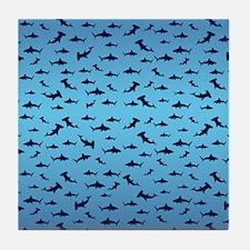 Sharks Sharks and More Sharks Tile Coaster