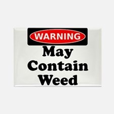 Warning May Contain Weed Rectangle Magnet