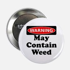 "Warning May Contain Weed 2.25"" Button (100 pack)"