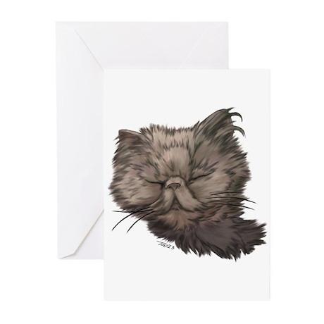 Grey Persian Cat Greeting Cards (Pk of 20)