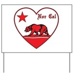 love nor cal bear red Yard Sign