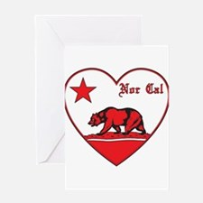 love nor cal bear red Greeting Card