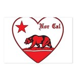 love nor cal bear red Postcards (Package of 8)