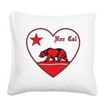 love nor cal bear red Square Canvas Pillow