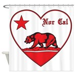 love nor cal bear red Shower Curtain