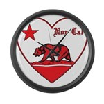 love nor cal bear red Large Wall Clock