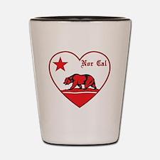love nor cal bear red Shot Glass